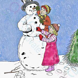 2 children make a snowman together